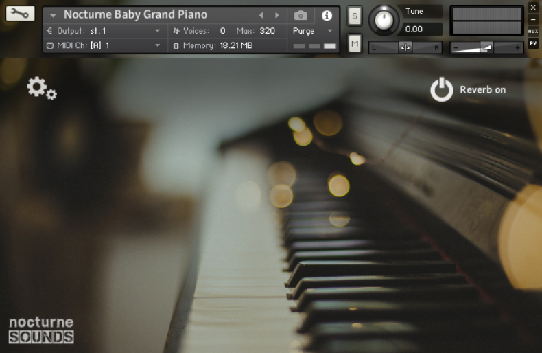 Screenshot of the Nocturne Baby Grand Piano sample library in Kontakt 5
